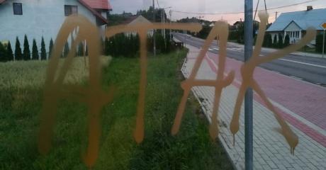 INTERWENCJA: Obsceniczne rysunki na znakach, przystankach i przy kapliczce w Tarnawie Górnej. Wandal ma kiepskie poczucie humoru (ZDJĘCIA)