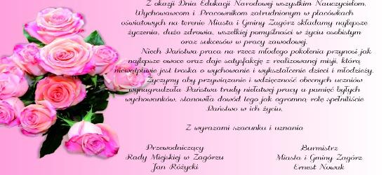 ZAGÓRZ24.PL: Najlepsze życzenia dla pracowników placówek oświatowych z okazji Dnia Edukacji Narodowej
